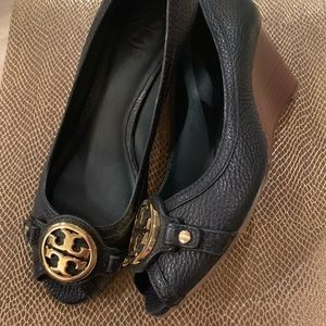 1402d7cfde2a9b Tory Burch Shoes - Tory Burch Leticia Peep-Toe Mid Wedge Newport Navy